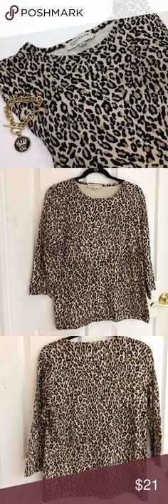 Jones New York Leopard Print Top Jones New York Sport leopard print top. 3/4 sleeves. Took tags off and never worn. Size XL Jones New York Tops Tees - Long Sleeve
