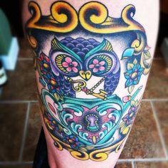 Owl and teapot tattoo