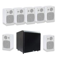 """Acoustic Audio AW43W 7.1 Home Surround Speaker System w/Black 12"""" HD Powered Sub by Acoustic. $328.88. This Acoustic Audio 7.1 channel multi-speaker system features seven, 4"""" white all-weather, indoor/outdoor speakers and one white 12"""" powered audio subwoofer. Each AW43W full-range speaker is equipped with a 4"""" polypropylene woofer combined with a Mylar Piezo tweeter built to handle up to 150 watts of power (75W RMS) per speaker. They are constructed of a lightwe..."""