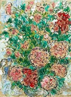 Spring time .. Pivoines et Couple by Marc Chagall