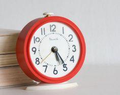 Red Desk Clock, Vintage Alarm Clock, Red and White, Vityaz Soviet Clock Round Desk, Vintage Alarm Clocks, Desk Clock, Vintage Marketplace, Paint Chips, Vintage Table, Danish Design, Red And White, Etsy