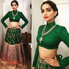 indische Frisuren Sonam Kapoor Ideen - -Hochzeit indische Frisuren Sonam Kapoor Ideen - - Open Shoulder Split Tie Back Top & Box Pleated Skirt Set Indian Attire, Indian Wear, Indian Dresses, Indian Outfits, Indian Skirt, Indian Clothes, Traditional Skirts, Traditional Fashion, Style Blogger