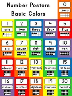Number Posters Basic Colors {0-20 with Ten Frame, Number a