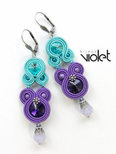 Soutache Earrings Venice Carnival by Violetbijoux on Etsy Handmade Beaded Jewelry, Handmade Necklaces, Boho Jewelry, Soutache Necklace, Polymer Clay Charms, Choker, Beading Tutorials, Beaded Embroidery, Jewelry Making