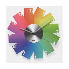 Rainbow Clock ($45) ❤ liked on Polyvore featuring home, home decor, clocks, battery powered clock, battery clock and battery operated clock