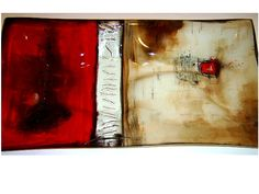 """M Beneke fused glass plate with copper wire detail """"fire and ash"""""""