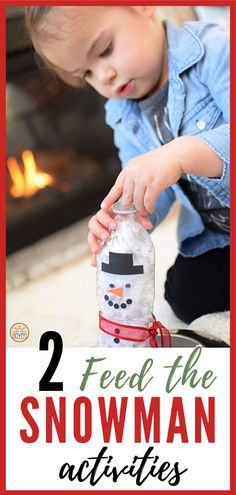 2 Ways to Feed the SnowmanSnowmen get hungry too! So, if you're looking for a way to keep little hands busy this winter we have 2 super-fun snowman related activities for kids. Indoor Activities For Toddlers, Activities For 2 Year Olds, Rainy Day Activities, Sensory Activities, Infant Activities, Preschool Activities, Toddler Crafts, Kids Crafts, Toddler Fun