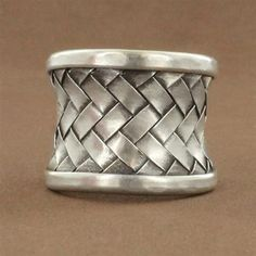 Sterling Silver 21mm Weave Oxidized Ring. $79.50 #unique #jewelry