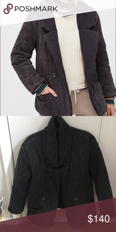 Free people tawny coat Worn a few times. In excellent condition. Warm and puffy quilted coat with pockets. Button detailing decoration. Buttons not functional. Coat does not fold over as shown in cover shot. Washed black. Lined. Free People Jackets & Coats Puffers