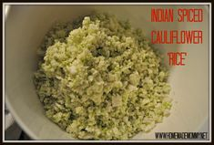 Grain free Indian Spiced Cauliflower Rice from Homemade Mommy, paleo Spiced Cauliflower, Cauliflower Recipes, Indian Cauliflower, Veggie Recipes, Indian Food Recipes, Whole Food Recipes, Vegetarian Recipes, Healthy Recipes, Thm Recipes