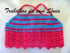 Trabalhos da vovó Sônia: Cropped ou top infantil vermelho e azul Nina - cro...