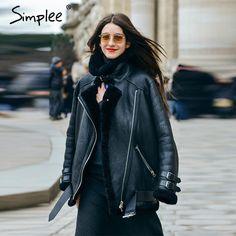 Simplee Vintage suede lambswool short jacket coat Winter black warm hairly collar jacket Women autumn belt female overcoat