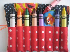 LARGE Crayon Roll Sesame Street  Includes 8 by adorableblessings