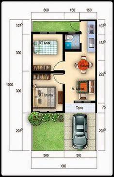 Trending Minimalist Home Design plans Type 36 2020 - Homestyles. Minimalist House Design, Small House Design, Minimalist Home, Small House Floor Plans, Model House Plan, Casas Containers, Bedroom House Plans, Home Design Plans, House Layouts