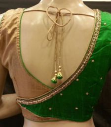 Awesome combination of green and gold.Handwork done on the back.