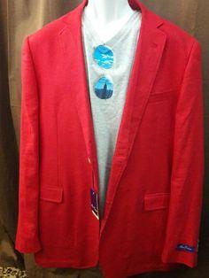Alan Flusser Mens Blazer Jacket Sport Coat RED LINEN NEW XL HOT Hipster  Cool HIP