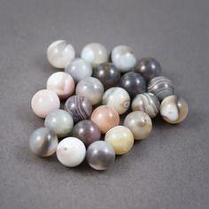 Lot de 23 pcs - perles rondes • agates • blanc, gris, ocre • veines, couleurs naturelles • 13mm