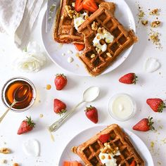 Strawberry And Rose Water Waffles With Maple Toasted Walnuts on @the_feedfeed https://thefeedfeed.com/kaleandcaramel/strawberry-and-rose-water-waffles-with-maple-toasted-walnuts