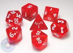 Transparent Red 7-Piece RPG Dice Set