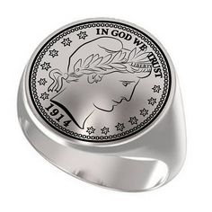 1914 Half Dollar Coin Silver Coin Ring Engraved Coin Ring