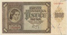 1000 Kuna 1941 (Frauenportrait) Kroatien Unabhängiger Staat (NDH)