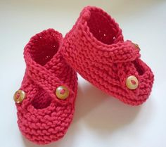 (6) Name: 'Knitting : Crossover Strap Baby Shoes - Brooke