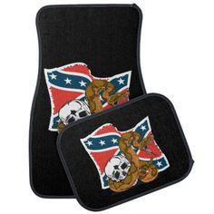 Confederate Battle Flag Rattlesnake Car Mat
