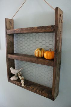 Rope Hanging Wood & Chicken Wire Shelf Rustic by LenasWillow