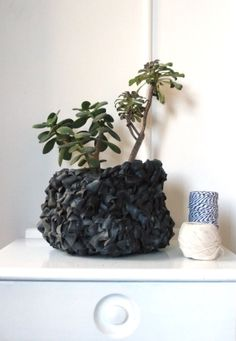 crochet basket planter made with up-cycled bicycle rubber inner tubes