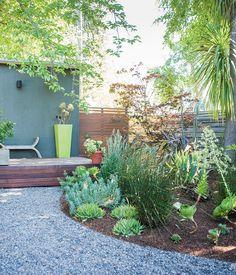 Create hidden spaces - love the colour wall & pot
