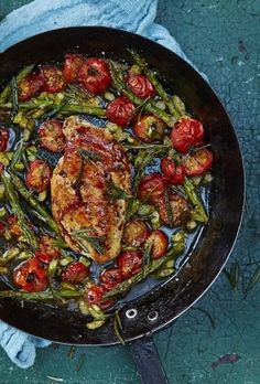 JAMIE OLIVER'S ROASTED CHICKEN BREAST with CHERRY TOMATOES & ASPARAGUS [Jamie Oliver]