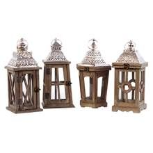 4-Pc Square Lantern with Silver Pierced Metal Top