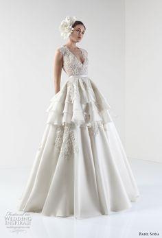 basil soda 2017 bridal sleeveless deep v neck heavily embellished bodice layered skirt princess ball gown a  line weddnig dress covered lace back (3) mv -- Basil Soda 2017 Wedding Dresses