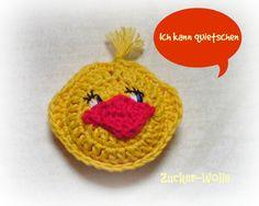 Häkelapplikationen - quietschende Ente Quietscheente - ein Designerstück von Zucker-Wolle bei DaWanda