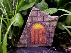 'Tiny Fairy Door - OOAK Hand Painted Rock Art' is going up for auction at 3pm Fri, May 17 with a starting bid of $6.