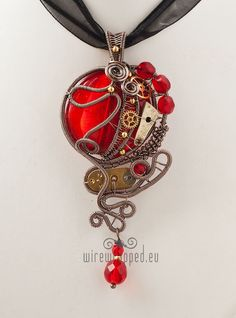 Red round steampunk pendant by *ukapala on deviantART