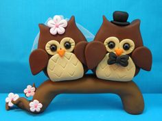 Owl Wedding Cake Topper Polymer Clay with Free by hbrundridge, $100.00