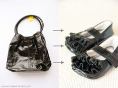 DIY: Turn an old purse (or leather jacket) into sweet little baby girl shoes. --- Make It and Love It