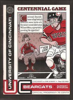 1969 Cincinnati vs William Mary College Football Program Nippert Stadium Nice | eBay