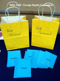Old and New Testament Books of the Bible - (easy!) Sorting Game. Using 2 bags - label one Old Testament and the other New Testament. Add cards that have the names of the books of the Bible. It is a great introduction for new drillers and younger children who are beginning to learn their books of the Bible.
