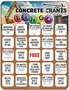 Concrete & Cranes Bingo VBS Printable - Here is a fun bingo printable that goes with the Lifeway's Concrete & Cranes VBS. Common Core Education, Bible Games, Vbs Crafts, Christian Movies, Weird Holidays, Vacation Bible School, Funny Art, Bingo, Crane