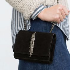 Image 2 of LEATHER MESSENGER BAG WITH METAL DETAIL from Zara