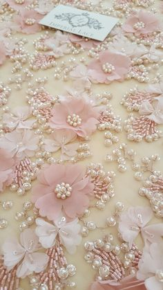 Your place to buy and sell all things handmade Pearl Embroidery, Tambour Embroidery, Embroidery Flowers Pattern, Couture Embroidery, Embroidery Fabric, Embroidery Fashion, Hand Embroidery Designs, Floral Embroidery, Flower Patterns