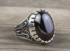 925 K Sterling Silver Man Ring  Black Onyx Gemstone 24.09$