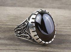 925 K Sterling Silver Man Ring  Black Onyx Gemstone 24.09$