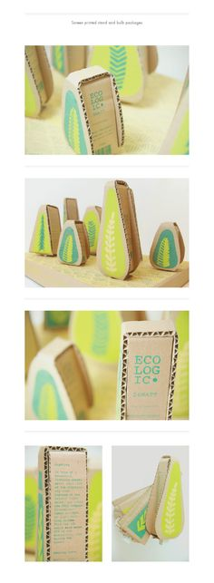 Ecologic light bulb #packaging design. Love the corrugated cardboard with the bright leaves!