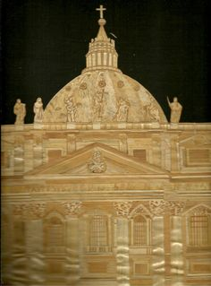 Rome ITALY  Church in Rome Italy  Handmade with rice leaves by museumshop, $129.00