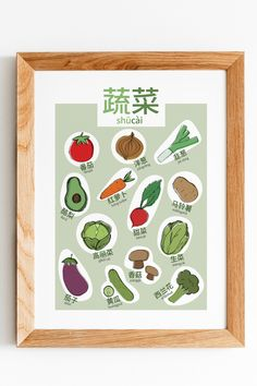 A cute and fun printable poster that helps teach the names of vegetables in simplified Chinese with the aid of pinyin. This would be perfect in a playroom or as kitchen décor and can be used as an educational tool. Make learning fun and pretty! A great gift for any new parents or anyone who's learning Chinese. Name Of Vegetables, Colorful Vegetables, Help Teaching, Teaching Tools, Playroom Art, Learn Chinese, Classroom Posters, Traditional Chinese, Fun Learning