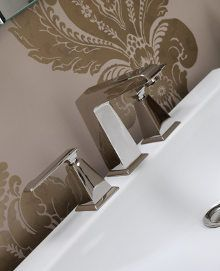 Bringing 1950's elegance to the modern day bathroom, Brubeck taps from BAGNODESIGN is the perfect complement to the sanitaryware and furniture in the Bloomsbury collection. #mixer #finishes #chrome #gold #polishednickel.