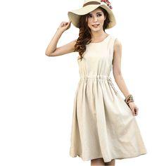 2015 New Women Linen Dress Vintage Bow Slim Lady Sleeveless Cute Dress Shirt Backpack Vest  Price: US $18.83  Sale Price: US $12.62  #dressional